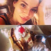 Kacey Clarke loving some dessert