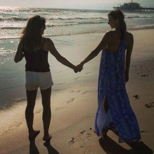 Kacey Clarke on the beach with Karen Clarke