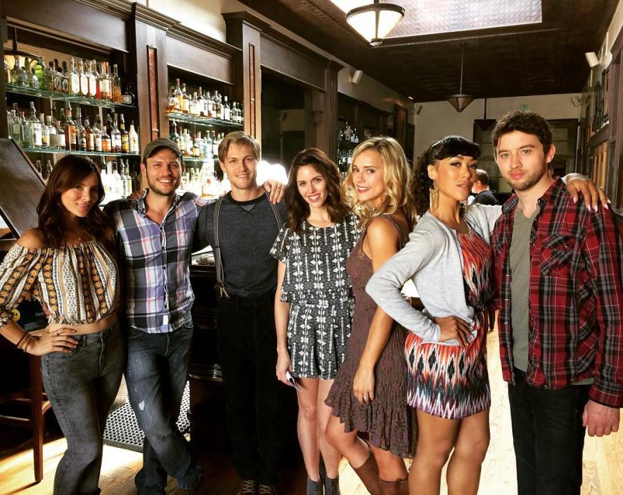 Kacey Clarke with cast members of 10 Year Reunion film