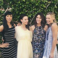 Kacey Clarke standing with three female cast members of 10 Year Reunion film